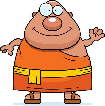 Eine Karikaturillustration der ein buddhistischer Mönch winken. Standard-Bild - 44477044