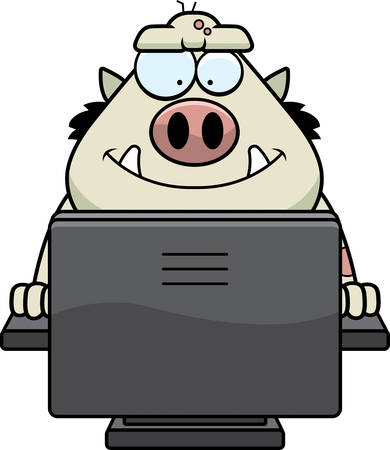 computer: A cartoon illustration of a troll using a computer.