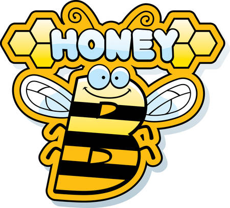 A cartoon illustration of the text Honey B with a bee theme. Ilustração