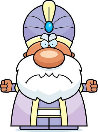 maharaja: A cartoon illustration of a maharaja with an angry expression. Illustration