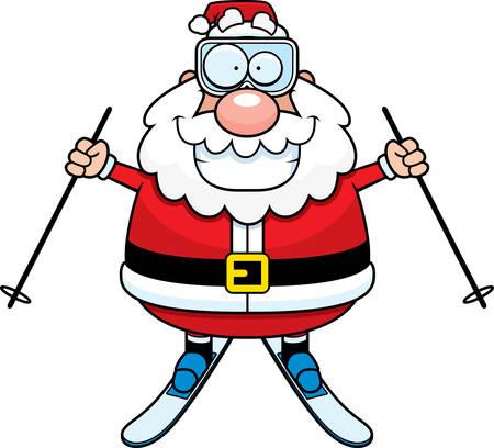A cartoon illustration of Santa Claus skiing. Stock Vector - 44477125
