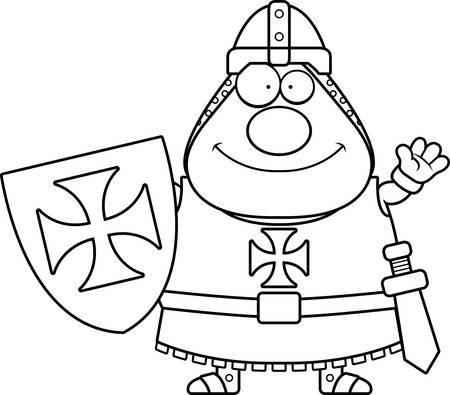 A cartoon illustration of a Templar knight waving.
