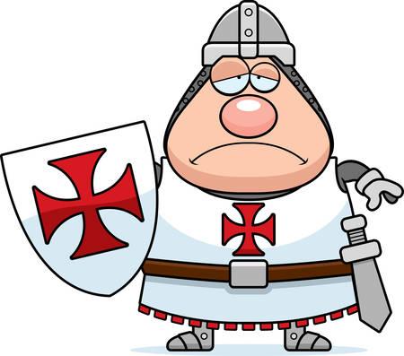 A cartoon illustration of a Templar knight looking sad. Illustration