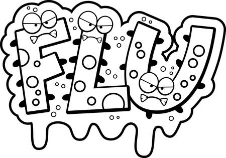 A cartoon illustration of the text Flu with a slimy germ theme. Ilustrace