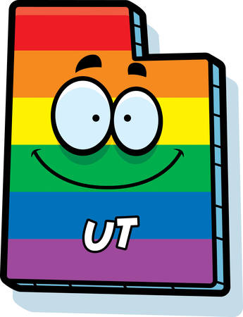 rainbow flag: A cartoon illustration of the state of Utah smiling with rainbow flag colors.