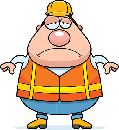 road worker: A cartoon illustration of a road worker looking sad.