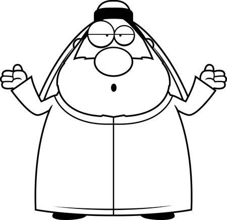 Een cartoon illustratie van een sjeik die verward.