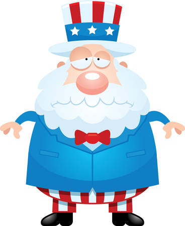 sam: A cartoon illustration of Uncle Sam looking sad.
