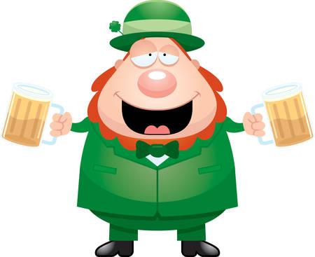 A cartoon illustration of a leprechaun drinking beer.