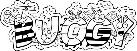 buggy: A cartoon illustration of the text Buggy with a bug theme.