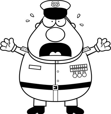 A cartoon illustration of a Navy Admiral looking scared. Illustration
