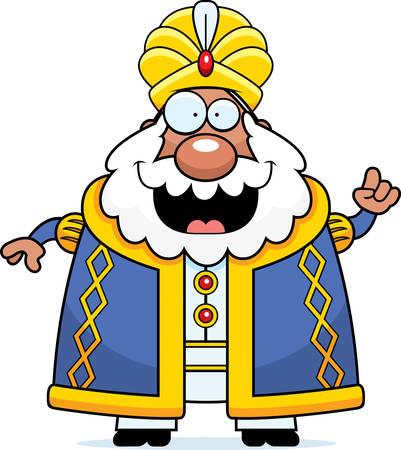 A cartoon illustration of a sultan with an idea. Illustration