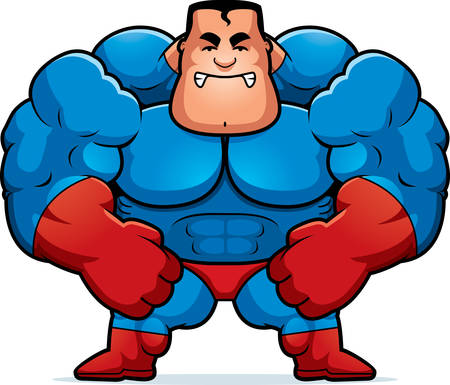 muscular: A cartoon illustration of a muscular superhero looking angry.
