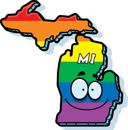 michigan flag: A cartoon illustration of the state of Michigan smiling with rainbow flag colors. Illustration
