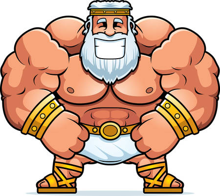flexing: A cartoon illustration of Zeus smiling. Illustration