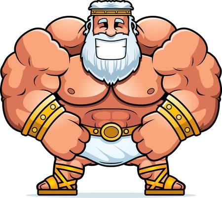 A cartoon illustration of Zeus smiling. Illustration