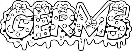 ぬるぬるした胚芽をテーマにしたテキスト細菌の漫画イラスト。