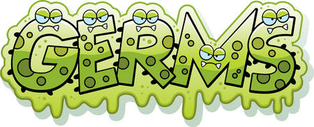 A cartoon illustration of the text Germs with a slimy germ theme.