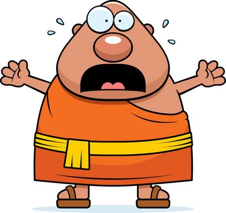 Eine Karikaturillustration der ein buddhistischer Mönch suchen Angst. Standard-Bild - 44477437