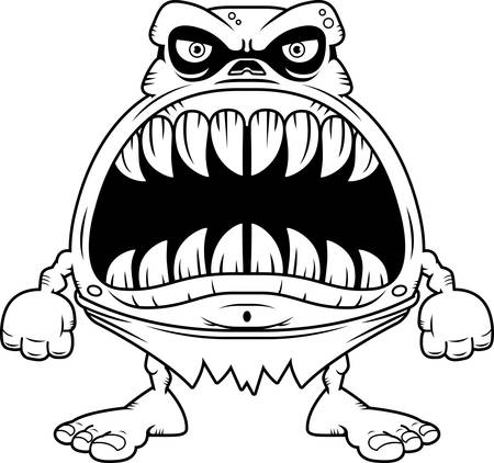 big mouth: A cartoon illustration of a ghoul with a big mouth full of sharp teeth. Illustration