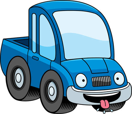 salivating: A cartoon illustration of a pickup truck looking hungry.
