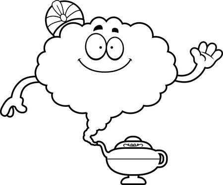 A cartoon illustration of a genie waving. Ilustracja