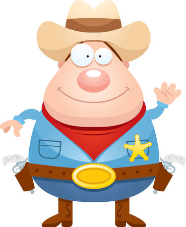 gunfighter: A cartoon illustration of a sheriff waving.