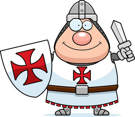 A cartoon illustration of a Templar knight looking happy. Illustration