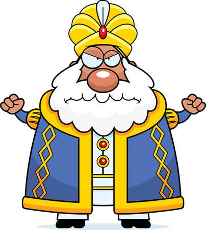 A cartoon illustration of a sultan looking angry.
