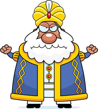 sultano: Un fumetto illustrazione di un sultano cercando arrabbiato.