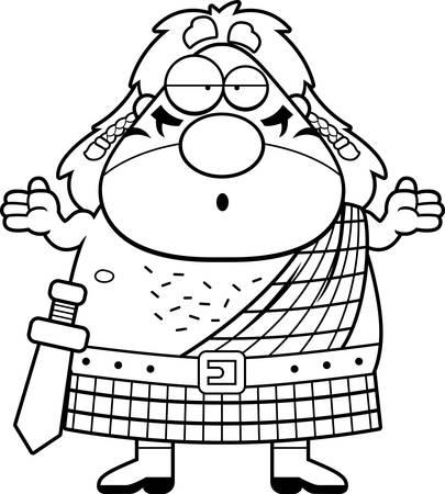 cartoon warrior: A cartoon illustration of a Celtic warrior looking confused. Illustration