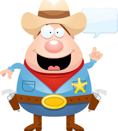 gunfighter: A cartoon illustration of a sheriff with an idea. Illustration
