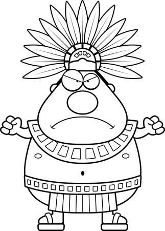 Une illustration de bande dessinée d'un roi aztèque recherche en colère.