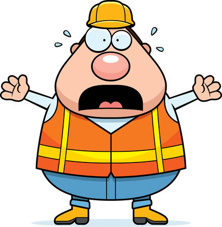 road worker: A cartoon illustration of a road worker looking scared.