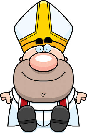 pope: A cartoon illustration of a pope sitting.