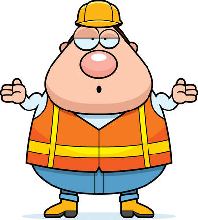 road worker: A cartoon illustration of a road worker looking confused. Illustration