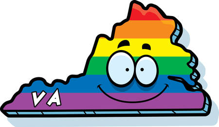 rainbow flag: A cartoon illustration of the state of Virgina smiling with rainbow flag colors.