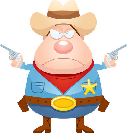 gunfighter: A cartoon illustration of a sheriff looking angry. Illustration