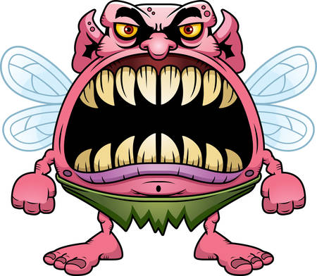 vicious: A cartoon illustration of a fairy with a big mouth full of sharp teeth.