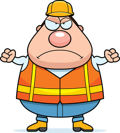 road worker: A cartoon illustration of a road worker looking angry.