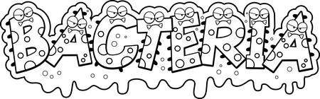 A cartoon illustration of the text Bacteria with a slimy germ theme. Reklamní fotografie - 44479128
