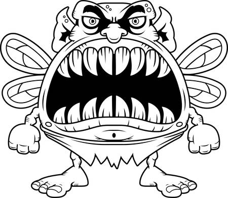 big mouth: A cartoon illustration of a fairy with a big mouth full of sharp teeth.