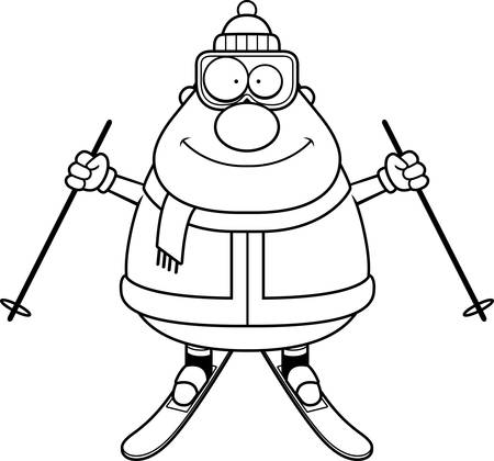 A cartoon illustration of a skiing man looking happy.