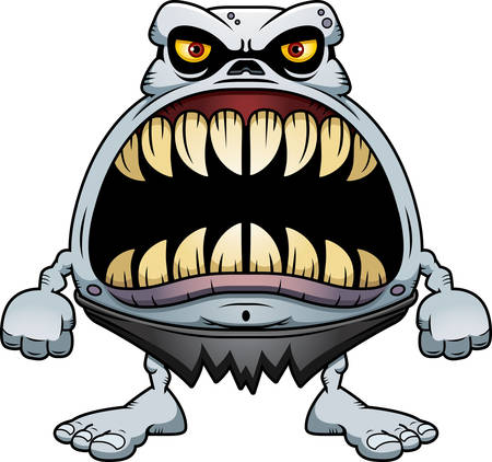 A cartoon illustration of a ghoul with a big mouth full of sharp teeth. Ilustrace