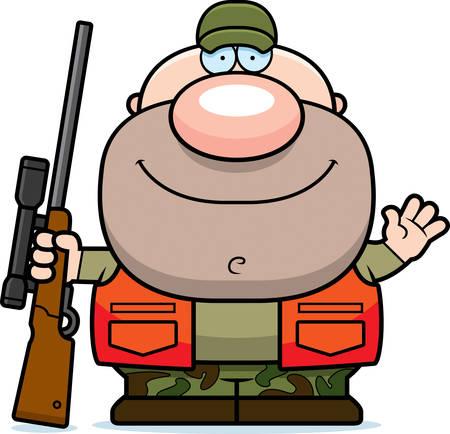 A cartoon illustration of a hunter waving.