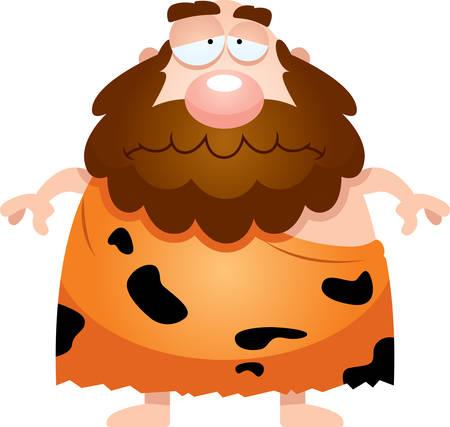 neanderthal: A cartoon illustration of a caveman looking sad.