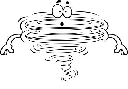 A cartoon illustration of a tornado looking surprised.
