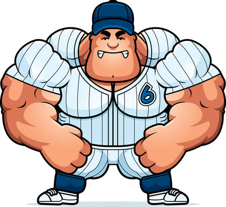 baseball cartoon: A cartoon illustration of a muscular baseball player looking angry. Illustration