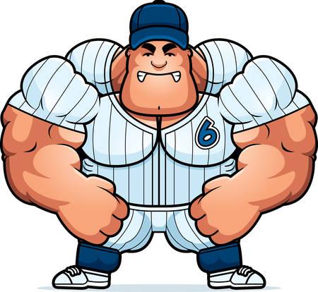 baseball cartoon: A cartoon illustration of a muscular baseball player looking angry. Illustration