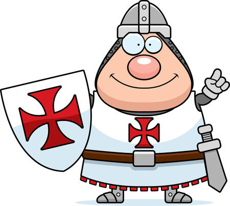 templar: A cartoon illustration of a Templar knight with an idea. Illustration